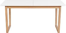 Mesa de comedor extensible madera clara y blanco