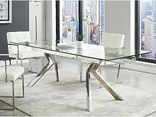 Mesa de comedor extensible VELIKA - Cristal