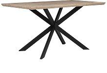 Mesa de comedor madera clara/negro 140x80 cm