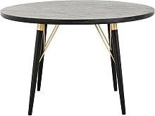 Mesa de comedor redonda de madera Pulligny negra y