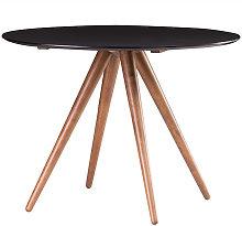 Mesa de comedor redonda diseño nogal y negro D106