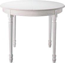 Mesa de comedor redonda extensible blanca de 4 a 8