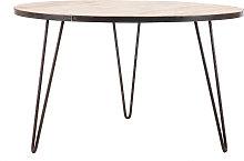 Mesa de comedor redonda industrial madera metal