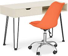 Mesa de escritorio de madera patas de horquilla