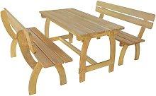 Mesa de jardín con 2 bancos madera de pino
