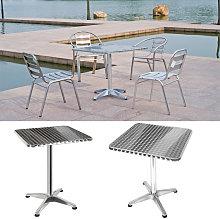 Mesa de jardín cuadrada de aluminio aluminio,