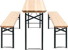 Mesa de jardín plegable con 2 bancos madera de