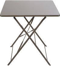 Mesa de jardín plegable de metal color topo para
