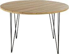 Mesa de jardín redonda de acacia maciza y metal