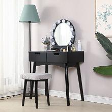 Mesa de maquillaje, Tocador, 2 cajones, espejo,