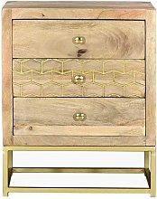Mesa de noche de estilo vintage ALIX - 3 cajones -
