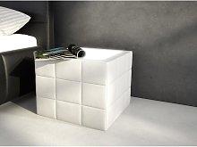 Mesa de noche ELYO - Piel sintética blanca con