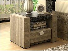 Mesa de noche METEORITE - 1 cajón y 1 estante -