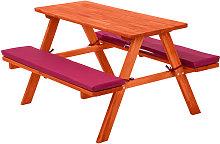 Mesa de picnic infantil con asiento acolchado - red