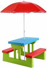 Mesa de Picnic para Niños con Parasol Plegable