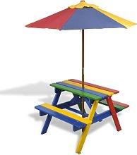 Mesa de picnic y bancos de ni?os y sombrilla