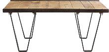 Mesa de salón estilo industrial de madera maciza