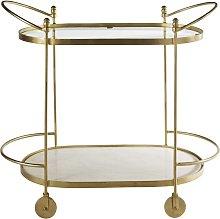 Mesa de servicio de metal dorado, cristal y