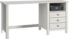 Mesa escritorio Vera 3 cajones de madera en Blanco