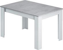 Mesa extensible de 140 a 190 cm Blanco y Cemento