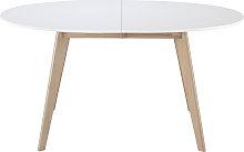 Mesa extensible oval blanca y madera clara