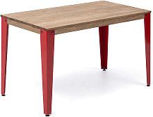 Mesa Lunds Estudio 110x70x75cm Rojo madera efecto