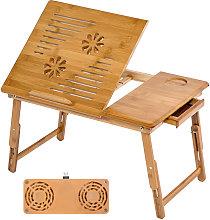 Mesa para portátil de bambú 55x35x26cm ajustable