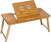 Mesa para portátil de bambú 72x35x26cm ajustable