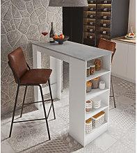 Mesa península de cocina con 4 estantes, mueble