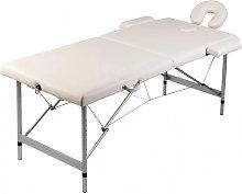 Mesa plegable masaje y accesorios 2 zonas aluminio blanco Vida XL