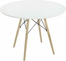 Mesa redonda de 100 cm. Tapa lacada blanco y patas