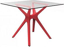 Mesa roja cristal VELA S 70 de Resol
