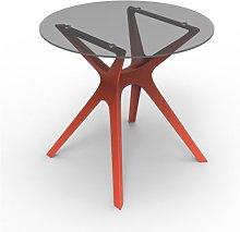 Mesa roja cristal VELA S Ø80 de Resol
