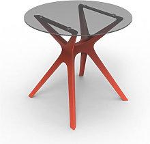 Mesa roja cristal VELA S Ø90 de Resol