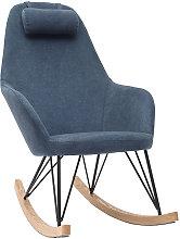 Miliboo - Mecedora terciopelo azul patas metal y