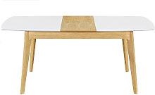 Miliboo - Mesa extensible nórdica blanca y madera