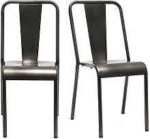 Miliboo - Silla diseño metal inox lote de 2 EVAN