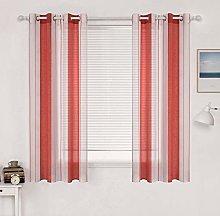 MIULEE Cortina Rayada Translucida de Dormitorio