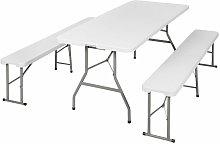 Mobiliario de camping 3 piezas - mesa de camping +