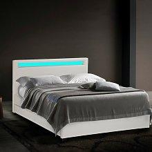 Moderna cama de matrimonio 2 plazas con cabecero