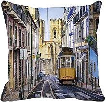 MODORSAN Throw Pillow Cover Skyline Lisbon