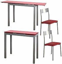 MOMMA HOME Conjunto Mesa y 4 Sillas Color Rojo -