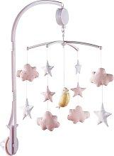 Móvil musical para bebé blanco y rosa