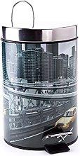 MSV Cubo DE Basura 3L New York, Acero Inoxidable,