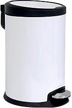 MSV Cubo DE Basura Blanco 20 L,Cierre Lento, Acero