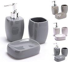 MSV MS029 - Set de cerámica, 3 Piezas, Color Gris