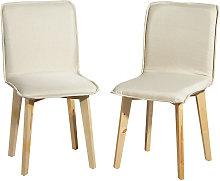 Mucola - Set de 2 sillas de comedor Color Crema