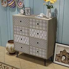 Mueble auxiliar con 8 cajones gris Vida XL