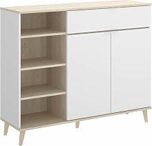 Mueble auxiliar de cocina blanco y natural 102 cm