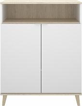 Mueble auxiliar de cocina blanco y natural 80 cm